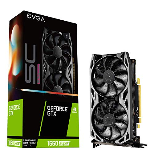 EVGA 06G-P4-1068-KR GeForce GTX 1660 Super Sc Ultra Gaming, 6 GB GDDR6, Dual Fan, Metall-Rückplatte