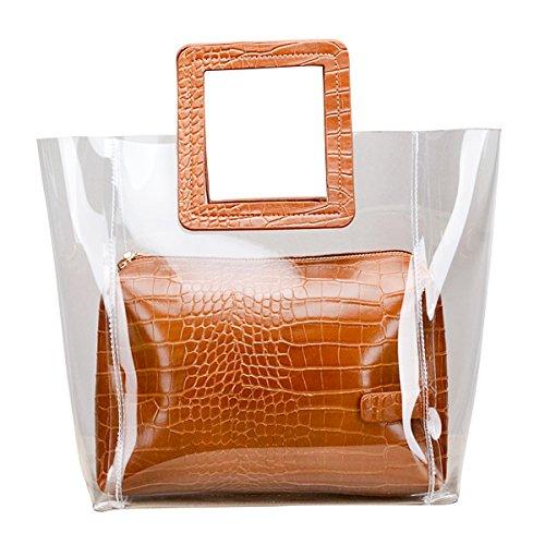 Hand Kanodan Ideal Top For Backpack Brown Bag handle Lash Satchel Summer Transparent Women q4WwHz4nRt