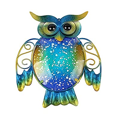 Liffy Metal Owl Wall Decoration Colorful Home Hanging Glass Decorative Wall Art for Indoors or Outdoors
