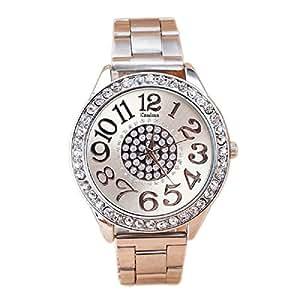 Resistente al agua deporte reloj de pulsera analógico de cuarzo de acero inoxidable reloj de diamantes cristales de lujo, malltop Regalos