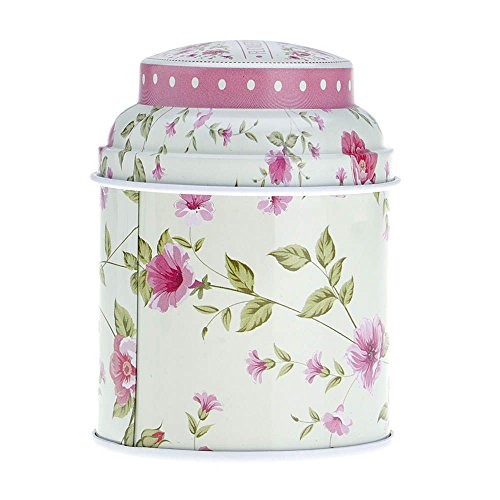 Huayang| 1Pc Floral Double Layer Tea Canister, Latching Tea Tin, Spice Storage Tins, Coffee Canister, Seal Tea/Candy Storage Tin Box Household Container