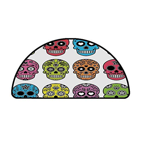 Skull Comfortable Semicircle Mat,Ornate Colorful Traditional Mexian Halloween Skull Icons Dead Humor Folk Art Print for Living Room,19.6