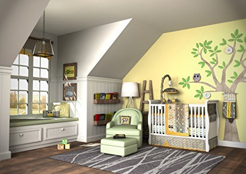 Frog Nursery Bedding - Nursery Crib Bedding Set, Frog, 7 Count, Green/Brown/Lime Green/White
