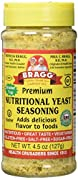 Bragg Premium NUTRITIONAL YEAST SEASONING 4.5 oz.  bottle with Shaker Top  Delicious added to recipes and foods!  Vegetarian, Gluten-FREE!  Non-GMO & Sugar-FREE!  Provides great-taste and nutrition when added to a wide variety of foods and recipe...