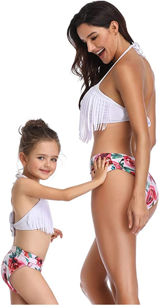 SUGARWEWE Two Pieces Bikini Mommy and Me Family Matching Swimwear Tassels Top