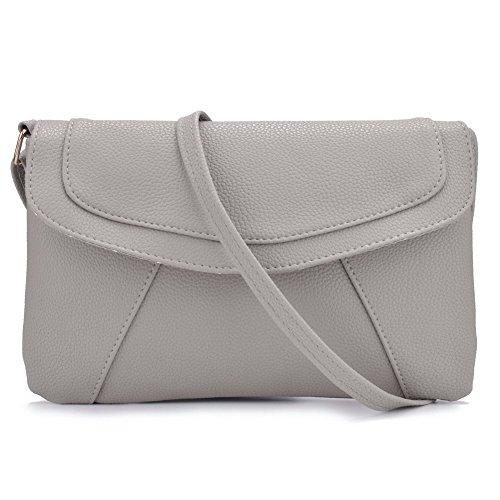 Jiaruo Small Shopper Crossbody Shoulder Bag Leather Wallet Purse (light grey 2) (Body Shopper Cross)