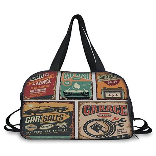 iPrint Travel Handbag,Vintage Decor,Nostalgic Art Auto Service Garage Funk Style Highway Logo Repair Road Grunge Decor,Multi ,Personalized