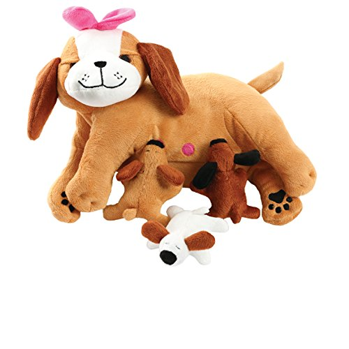 [Tristar Toy Nursing Mama Dog With 3 Barking Magnetic Puppies Nurturing Plush Soft Toy] (Dog Magnetic Toy)