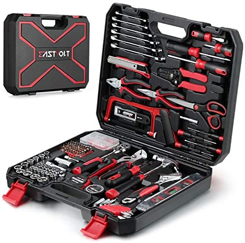 218-Piece Household Tool equipment,Auto Repair Tool Set, EASTVOLT Tool kits for Homeowner, General Household Hand Tool Set with Hammer, Plier, Screwdriver Set, Socket Kit, with Carrying Tool Box, EVHT21801
