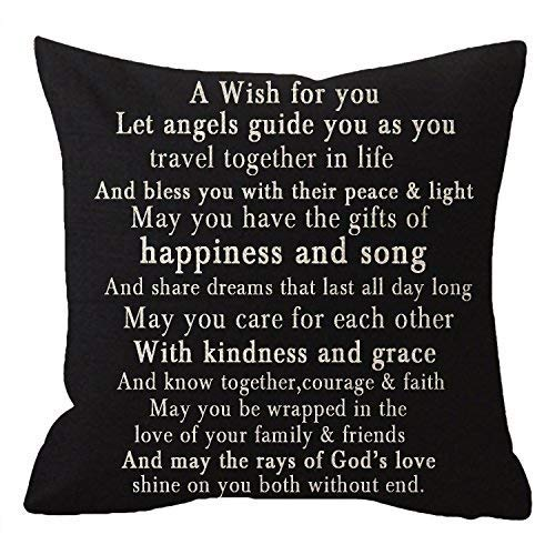 Nice Gift to Sister Friends Family Greatest Blessing Quotes A Wish for You Body Lumbar Beige Cotton Linen Throw Pillow Case Cushion Cover Sofa Decorative Square 18 Inches Black