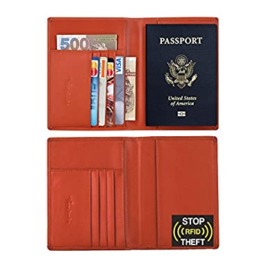 Travelambo RFID Blocking Genuine Leather Passport Holder Wallet Cover Case for Travel Men and Women in Color Brown
