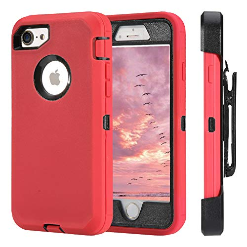 (for iPhone 7 Case iPhone 8 Case Full Protective Anti-Scratch Resistant Cover case for Apple iPhone 7 & iPhone 8 with Holster Belt Clip Stand Cover and Built-in Screen Protector Red/Black)
