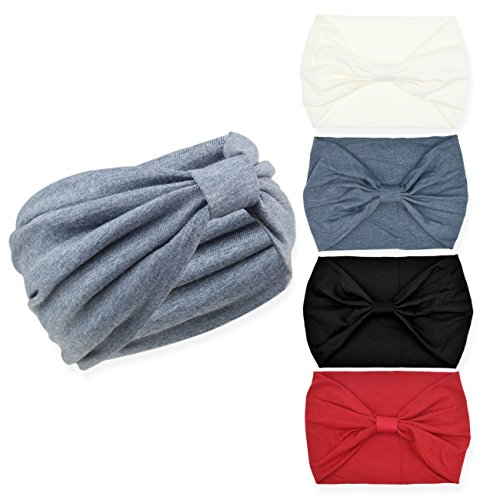 DRESHOW 4 Pack Turban Headbands for Women Hair Vintage Flower Printed Cross Elastic Head Wrap]()