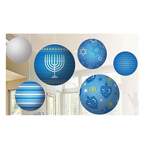 Zion Judaica Hanukkah Ball Lantern Decoration Ceiling Mount 6 Set]()