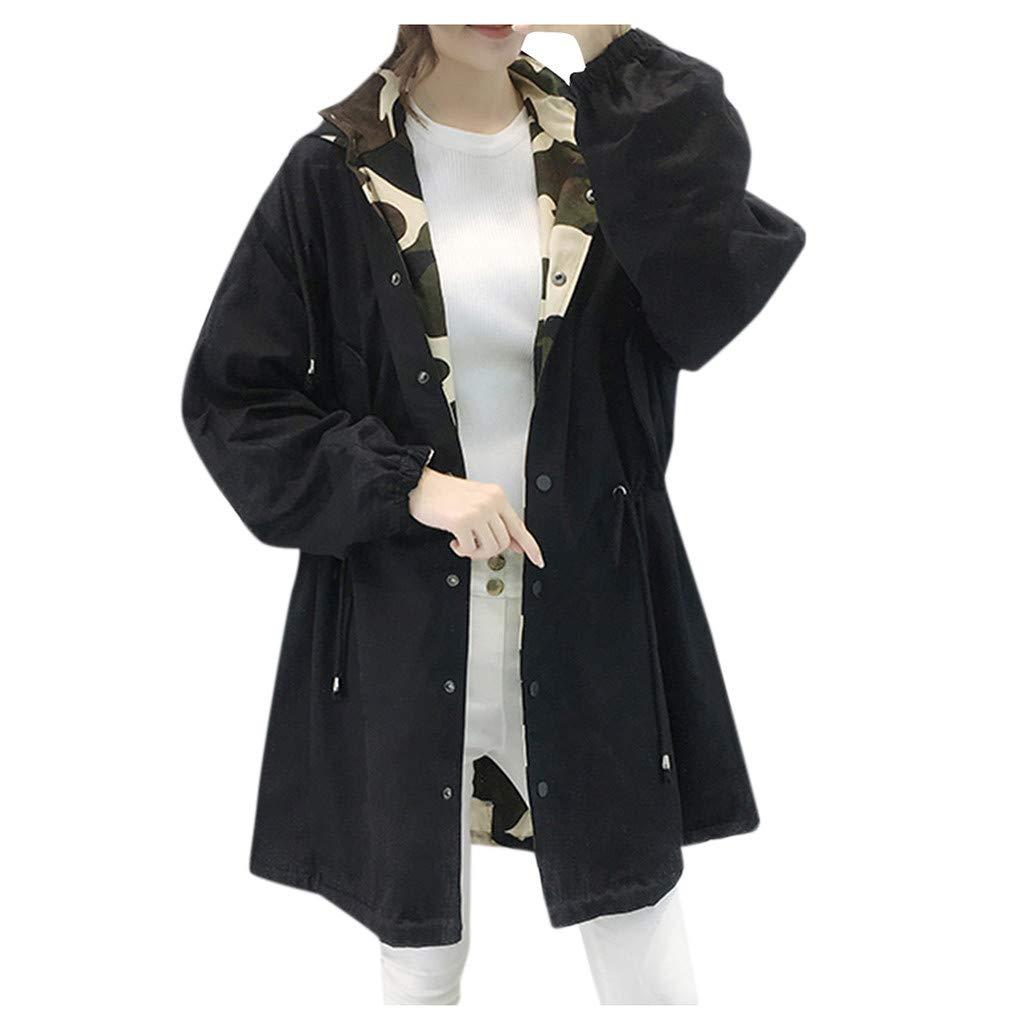 Eoeth Womens Button Cardigan Overcoat Winter Lapel Coat Trench Jacket Long Sleeve Outwear Coat Hooded Sweatshirt Black by Eoeth