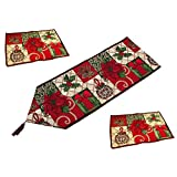 NKTM Christmas Decorative Table Runner and Placemats,Christmas Thanksgiving Day Flower Cotton Soft Table Runner Cloth Home Wedding Party Decor (1 Table Runner + 2 placemats)