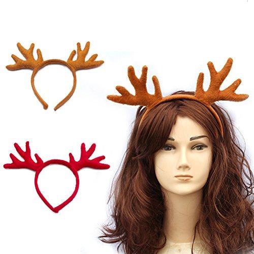 Diy Costumes For Black People (HansGo Reindeer Antlers Headband Christmas Hair Band Hat, 2 Pack)