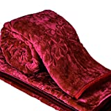 Jaipurcrafts Webelkart Double Bed Mink Floral Blanket Having Attractive Carry Bag -Maroon