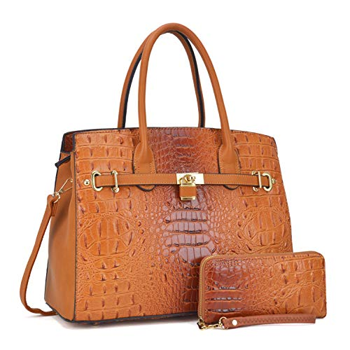 Embossed Patent Leather Satchel - Women Patent Leather Crocodile Embossed Handbags 2 Pieces Wallet Set Purse Brown