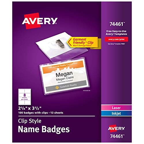 - Avery Clip Name Badges, Print or Write, 2-1/4