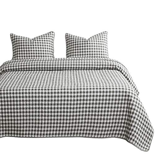 Wake In Cloud - Checker Quilt Set, Gray Grey Buffalo Check Plaid Geometric Modern Pattern Printed, 100% Cotton Fabric with Soft Microfiber Inner Fill Bedspread Coverlet Bedding (3pcs, Queen Size)