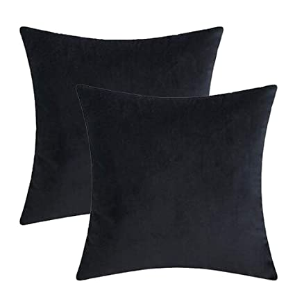 Soft Velvet Solid Black Decorative Square Throw Pillow Covers Set Cushion  Case for Sofa Couch Home Decor 20 x 20 Inches 50 x 50 cm