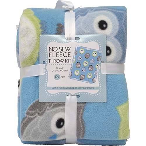 Owls No-Sew Throw Fleece Fabric Kit by David Textiles