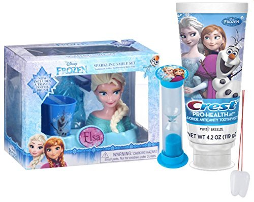 Disney Frozen Elsa Inspired 4pc Sparkling Smile Oral Hygiene Gift Set! Includes Toothbrush Holder, Toothbrush, Toothpaste & Rinse Cup! Plus Bonus Frozen Resuable Drawstring Tote Gift Bag!
