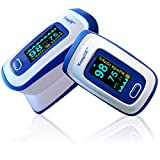 Finger Pulse Oximeter Deluxe Model Digital Blood Oxygen and Pulse Sensor Meter with Alarm - SPO2 - For Adults, Children, Sports Use - TempIR for Reliability and Excellent Customer Care