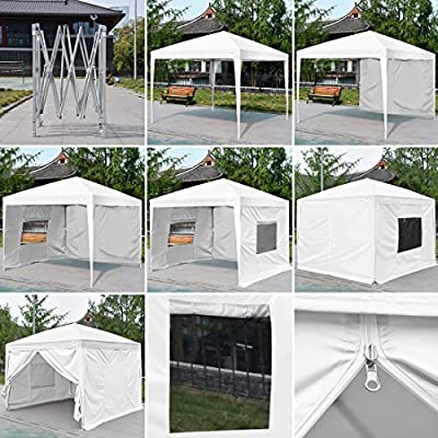 Quictent Privacy 8x8 EZ Pop Up Canopy Tent with Sidewalls and Mesh Windows Waterproof -8 Colors by Outdoor