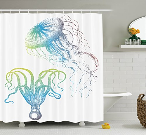 Ambesonne Octopus Decor Collection, Octopus and Jellyfish Illustration Nautical Themed Art Underwater Wildlife Marine Decor, Polyester Fabric Bathroom Shower Curtain Set with Hooks, Blue - Shower Bridal Christmas Themed