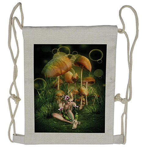 Lunarable Mushroom Drawstring Backpack, Elf Woman Enchanted Forest, Sackpack (Mushroom Elf)