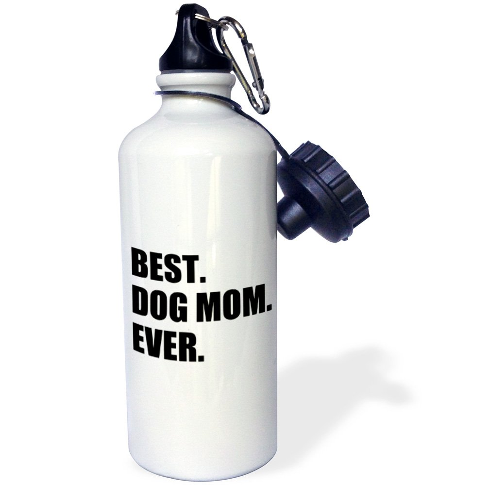 3dRose wb_184993_1 Best Dog Mom Ever - fun pet owner gifts for her - animal lover text Sports Water Bottle, Multicolored, 21 oz