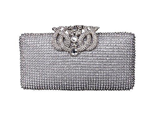 Silver Luxurious Hard Clutch Women Case Purse Bag Rhinestone Brilliant Inlaid Evening qTn0vqar
