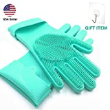 SolidScrub | Magic Silicone Gloves scrubbing Gloves for Dishes, dishwashing Gloves with scrubbers, Dish Gloves for Kitchen, car wash, and pet Care | 1 Pair, 2 Gloves (Green Blue/Aqua)