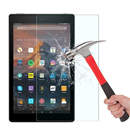 [2-Pack] OMOTON Screen Protector for All-New Fire HD 8 (2018/2017/2016 Release), Tempered Glass/HD / 9H Hardness