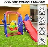 HOMCOM Columpio Infantil + Tobogan y Canasta Baloncesto Juguete Jardin Niños a Partir 3 años: Amazon.es: Jardín
