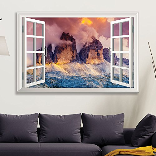 Window View Landscape with Gigantic Rock Formation