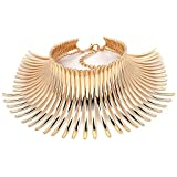 Karen accessories Statement Necklace for Women Canine Shape Metal Choker Collar Statement Necklace (E-gold)
