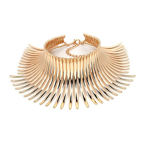 Metal Necklace Choker - Karen accessories Statement Necklace for Women Canine Shape Metal Choker Collar Statement Necklace (E-gold)