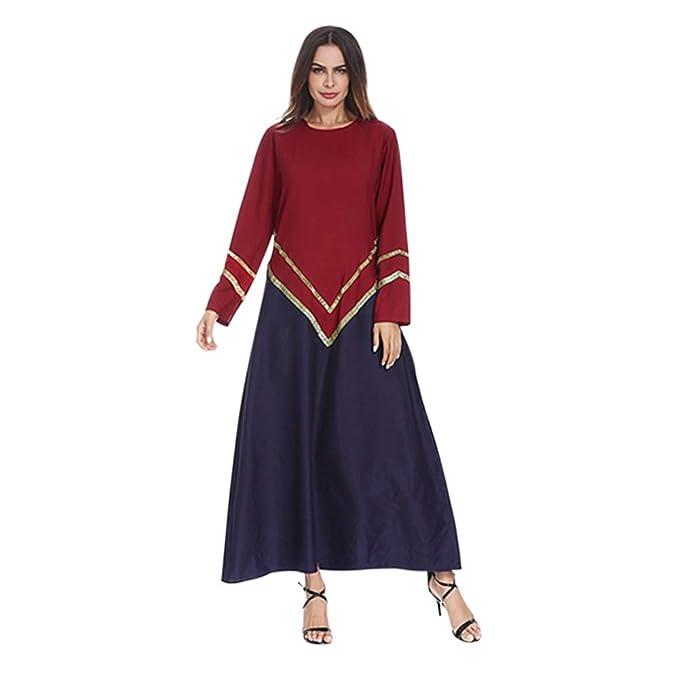 Hzjundasi Mujer Kaftan Musulmán Manga Larga Vestidos
