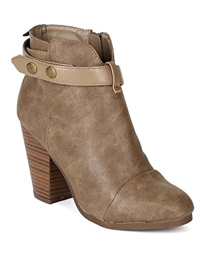 Two Tone Snap (Women Leatherette Two-Tone Snap Button Strap Chunky Heel Ankle Bootie BE90 - Beige (Size: 11))