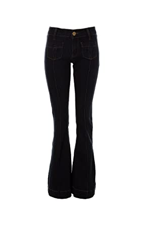 172cb31567e Women s Kick Flare Bell Bottom Jeans Ladies Flared Denim Clothing Wide Leg  Vintage Cut Jean (