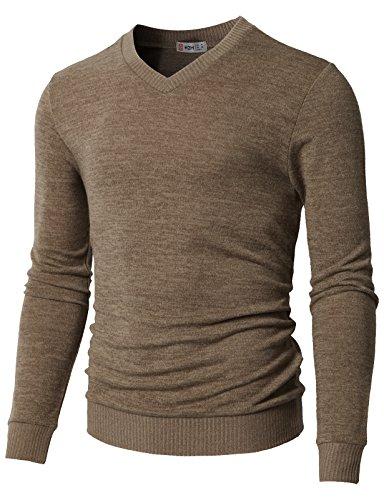 - H2H Mens Slim Fit Crew-Neck Pullover Sweater Beige US S/Asia M (CMOSWL018)