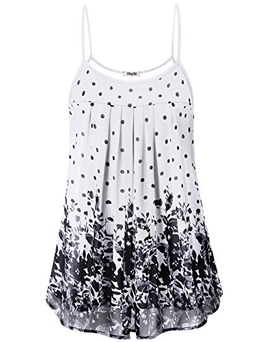 Hibelle Chiffon Cami, Female Loose Fitting Tank Top for Women Sleeveless Flowy Shell Bottom Floral Printed Blouses Baggy Pregnant Maternity Softest Breezy Casual Wear Black White XL - Spaghetti Shell Strap