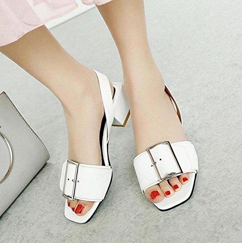 white Toe Slingback GLTER Fashion Sandalias Planas 40 Square Hebilla 45 Personalidad Bombas Mujeres Tacón Peep Sandalias Xrqx4qEZ