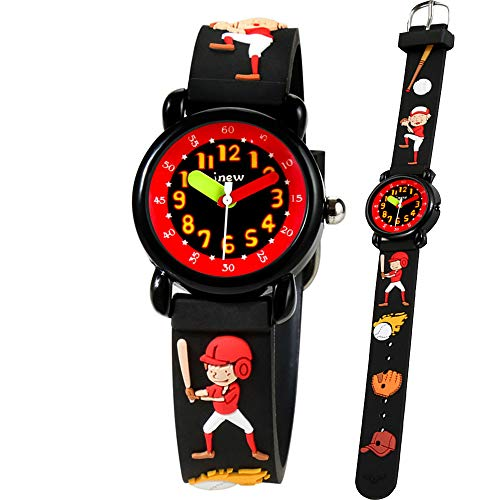 Kid Watch 3D Cute Cartoon Silicone Wristwatches Quartz Watch 30M Waterproof Time Teacher Gift for Little Girls Boy Children (Baseball boy, Black2) -