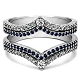 Silver Double Row Chevron Style Anniversary Ring Guard with Diamonds and Sapphire (1.52 ct. twt.)