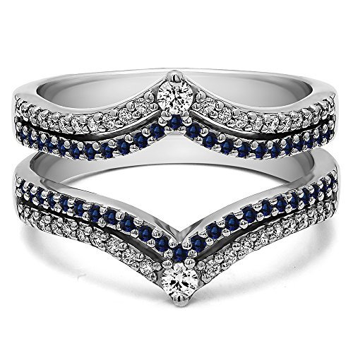 Silver Double Row Chevron Style Anniversary Ring Guard with Diamonds and Sapphire (1.52 ct. twt.) by TwoBirch