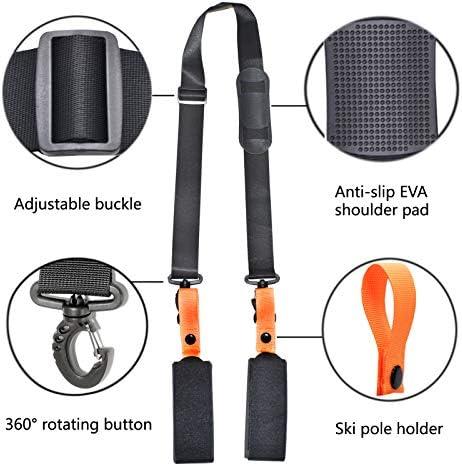 VNVM Ski Strap and Ski Boot Strap for Easy Transportation of Your Ski Gear with Anti-Slip Shoulder Pads, Ski Strap Adjustable Shoulder Carrier for Men, Women and Kids